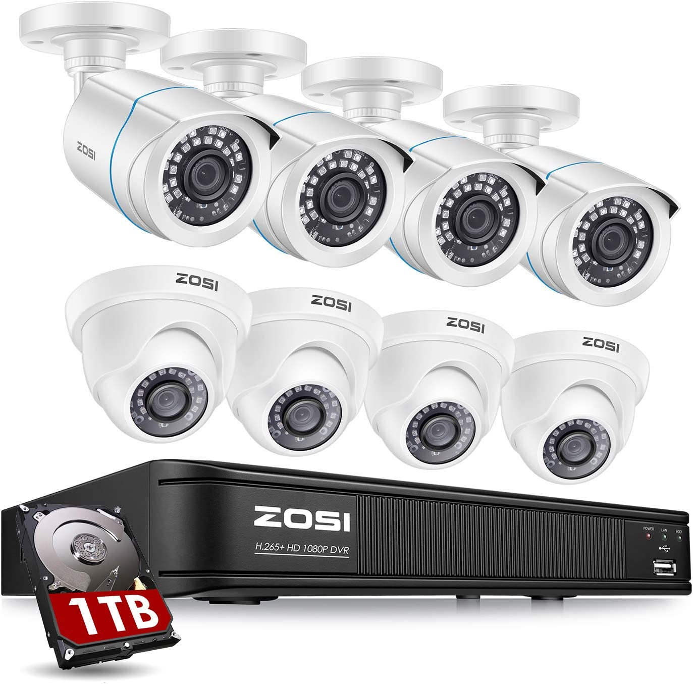 ZOSI H.265+ 1080p Home Security Camera System Outdoor Indoor, 5MP Lite 8 Channel DVR Recorder and 8 x 1080p Weatherproof CCTV Bullet Dome Camera, Remote Access, Motion Alerts (1TB Hard Drive Built-in)