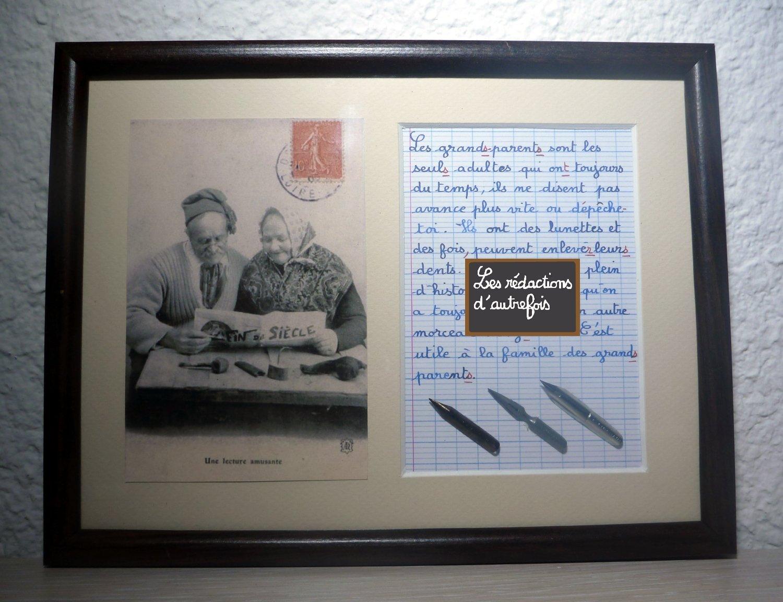 Tableau avec photo ancienne et texte sur les grands-parents