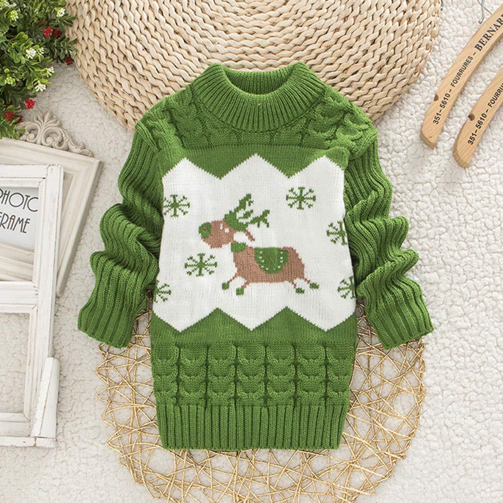 MEIbax Navidad Ni/ño Ni/ña Femenino Beb/é Fawn Frill Twist Knit Sweater Jersey de Manga Larga Abrigo