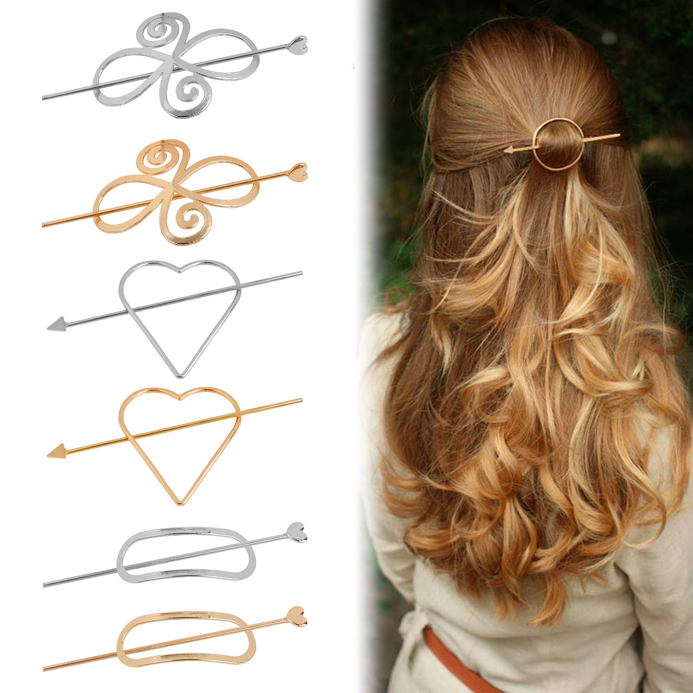 Women Hairpins, Fascigirl 6 PCS Assorted Creative Alloy Geometric Dainty Hair Barrette Hair Pin Hair Styling Accessories Hair Clips for Women Girls