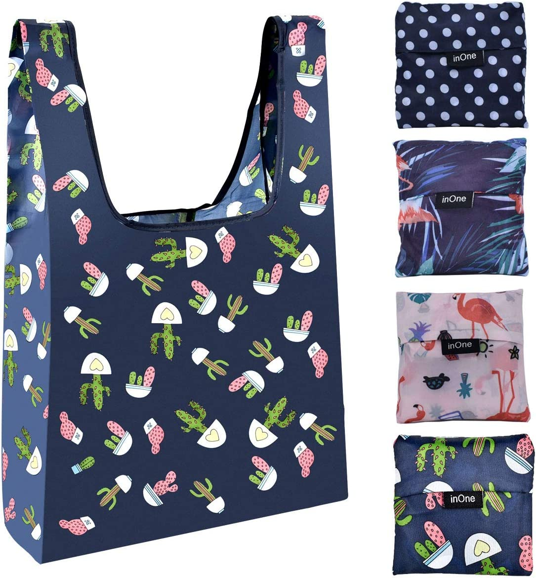Reusable Grocery Bags Portable Fold Shopping Tote Bags with Pouch - 4 Pack