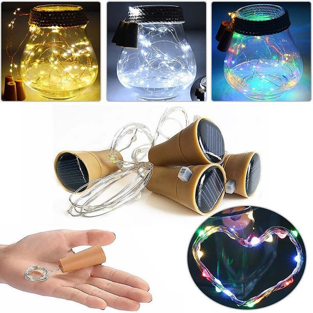 ZX101 Wine Bottle Cork Shape LED Solar Powered Flexible Copper Wire Fairy String Light Party Home Decor White 0.8m 8LED by ZX101 (Image #3)