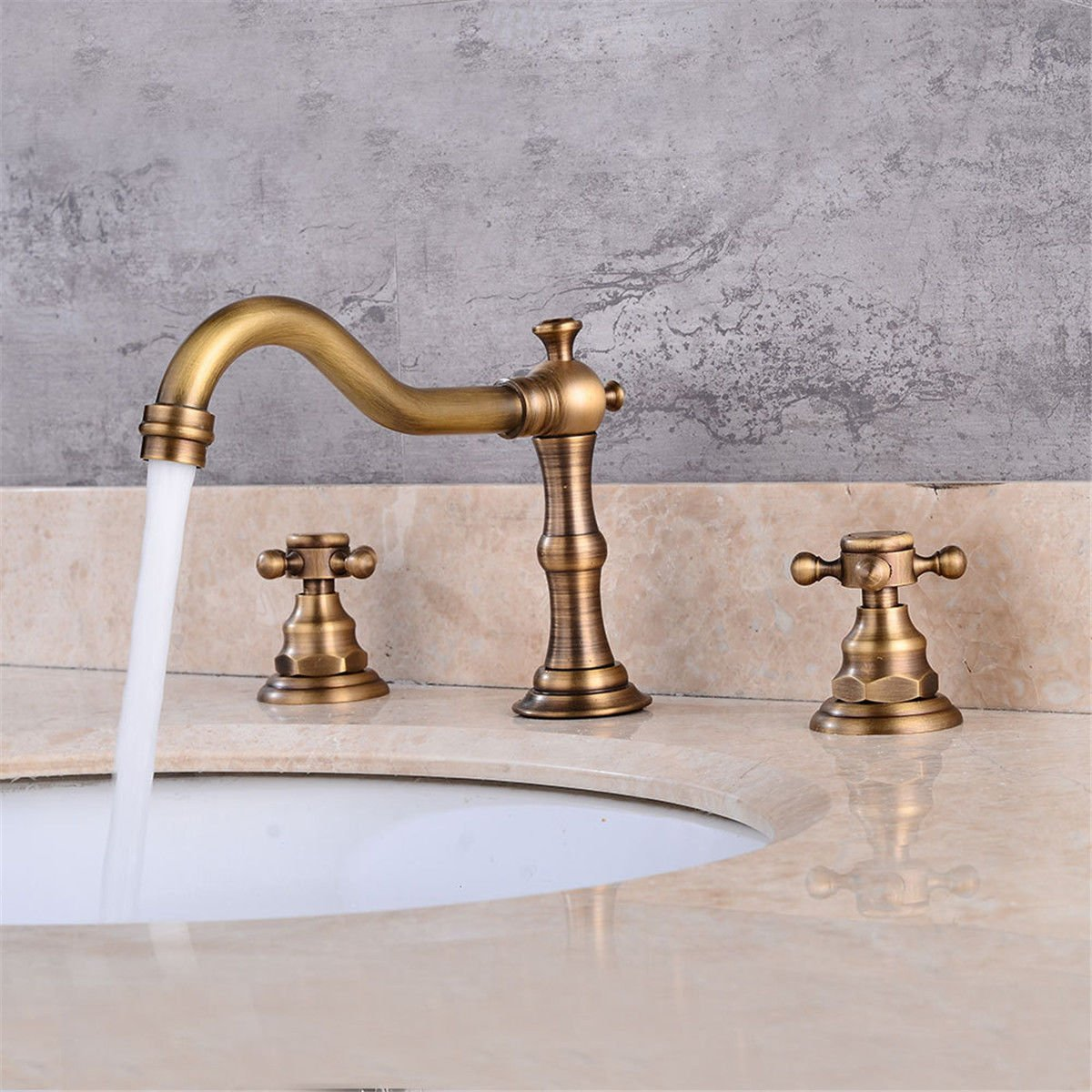 Bathroom Kitchen Sink Faucet, Basin Sink Mixer Tap Sink Brass Three Hole Retro Double Double On Hot and Cold Water Bathroom Faucet Basin Taps