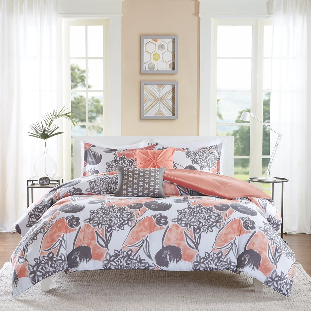 Intelligent Design ID10-731 Marie Comforter Set Twin XL Coral, Twin/Twin X-Large