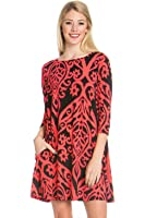 Junky Closet Women's 3/4 Sleeve Long Sleeve Print Side Pocket A-Line Tunic Dress
