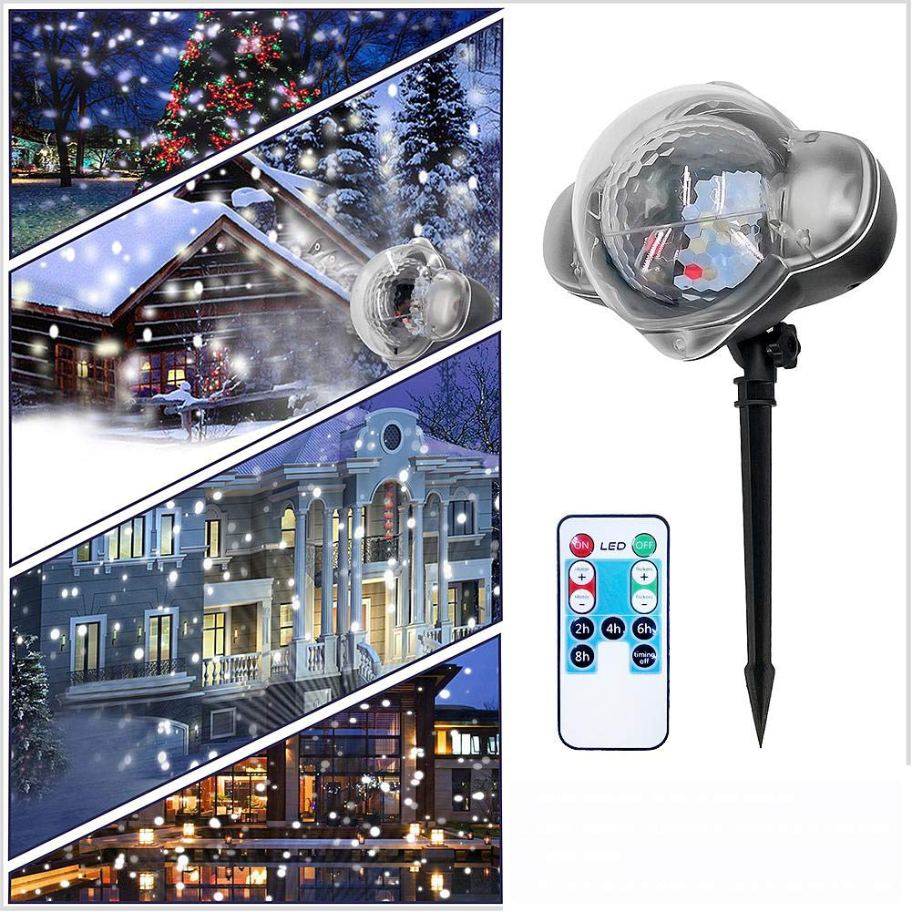 Rehao Christmas Projector Lights Snow Flurries falling Light LED Snowfall Projector Lights Rotating Snowflake Spotlight Indoor Outdoor Landscape Lighting for Halloween Xmas Wedding Birthday New Year Party