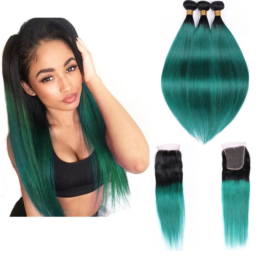 Human Hair Weaves Ombre Bundles With Closure 3 Bundles With Closure T1b/ Green Dark Roots Turquoise Silk Straight Human Hair