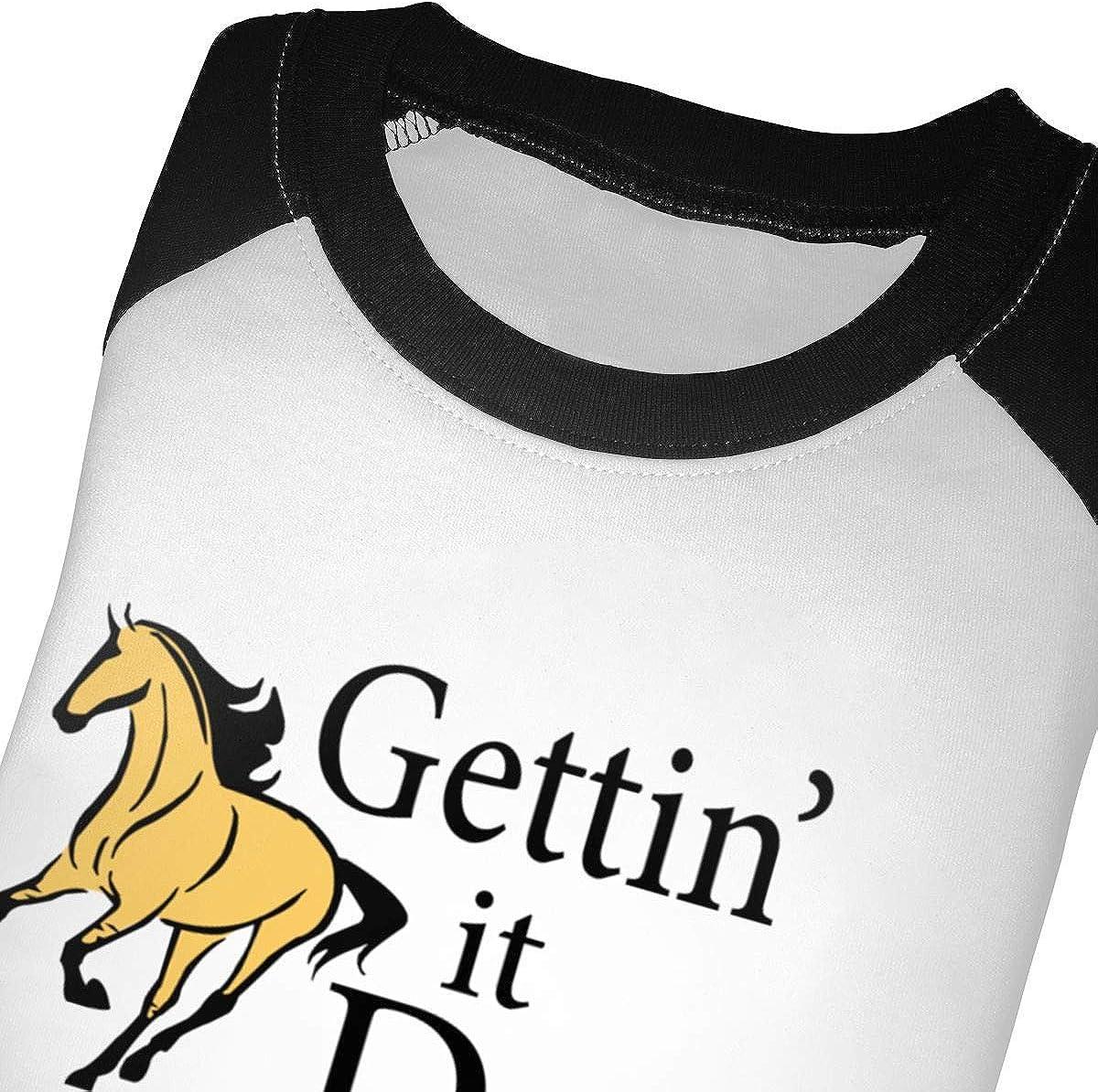 Kocvbng I Gettin It Dun Horse Raglan 3//4 Sleeve T-Shirt for Girls Boy