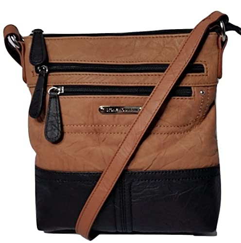 Stone Mountain Leather Tan Black Crossbody Bag Handbags Amazon Com