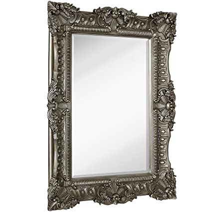 Elegant Hamilton Hills Large Ornate Antique Silver Baroque Frame Mirror | Aged  Luxury | Elegant Rectangle Wall