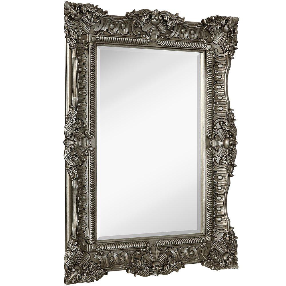Large Ornate Antique Silver Pewter Baroque Frame Mirror | Aged Luxury | Elegant Rectangle Wall Piece | Vanity, Bedroom, or Bathroom | Hangs Horizontal or Vertical | 100% (30'' x 40'')