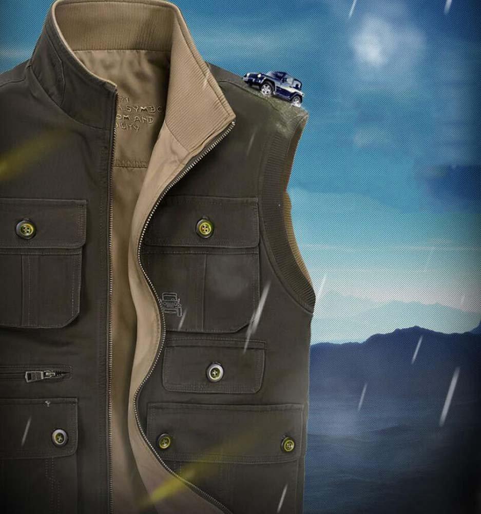 YDYG Outdoor Weste Jacke, Jacke, Jacke, Extra Large Herren doppelseitige Weste Jacke, Baumwolle Multi-Pocket Weste Jacke für Camping Jagd Angeln Fotografie, grün, Khaki B07GTL5CKD Jacken Stilvoll und charmant bce60c
