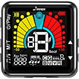 Donner DT-4 Digital Tuner Metronome Tone Generator 3 in 1, Clip-on Tuner for Guitar, Bass, Violin, Ukulele, Mandolin with LED Colorful Display