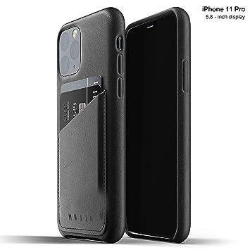 Mujjo Estuche para Apple iPhone 11 Pro | Estuche de Cuero Suave Efecto Envejecido Natural, 1mm Elevado en la Pantalla, Ranura para Tarjeta 2/3 (Negro)