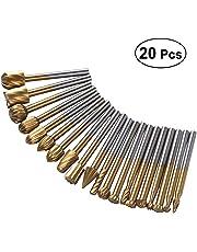 BESTOMZ 20 Unidades Juego de Grabado de Acero de Carburo Herramientas Rotativas de Carpintería Talla Grabado Herramientas Giratorias de Perforación