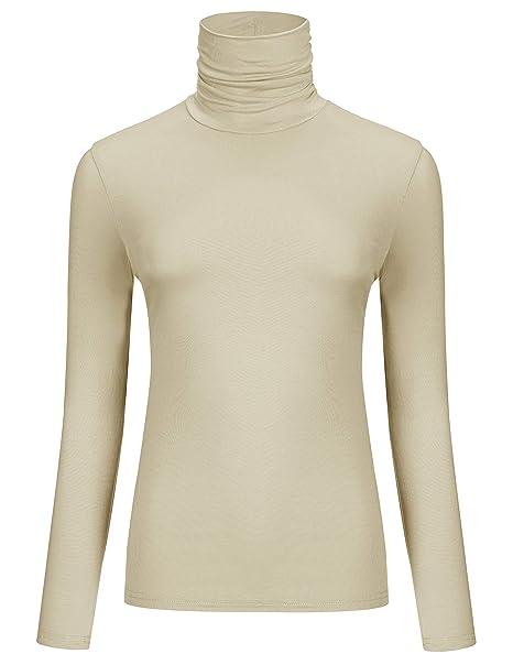 3867e124 AUHEGN Women's Long Sleeve Lightweight Turtleneck Top Pullover Sweater ( Small, Apricot)