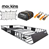 Mockins Roof Rack Rooftop Cargo Carrier with Cargo Bag and Bungee Net | The Steel Luggage Rack is 64' Long X 39' Wide X…
