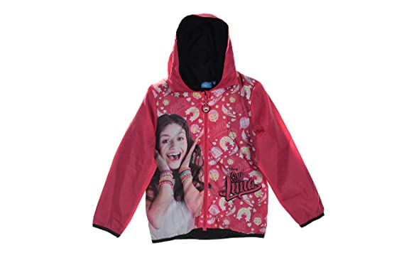 Soy Luna Rain Outerwear Windbreaker with Hood Zip and Bag (Fushia, 6 Years)