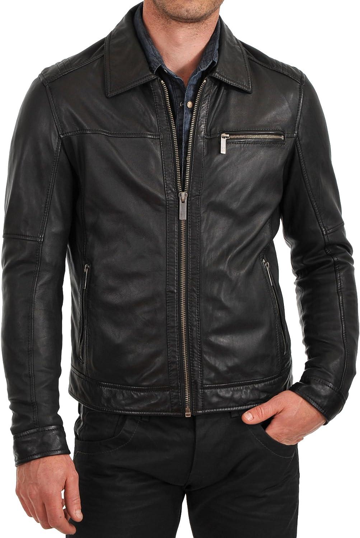Kingdom Leather Mens Genuine Cow Leather Jacket Slim Fit Biker Motorcycle Jacket XC213