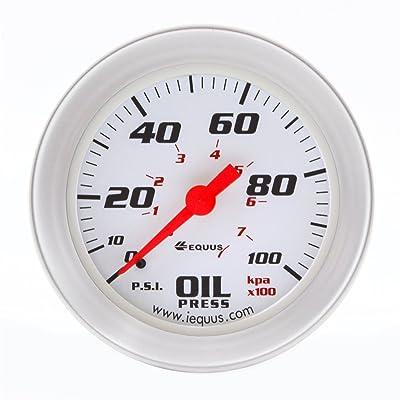 """Equus 8244 2"""" Mechanical Oil Pressure Gauge, White with Aluminum Bezel: Automotive"""