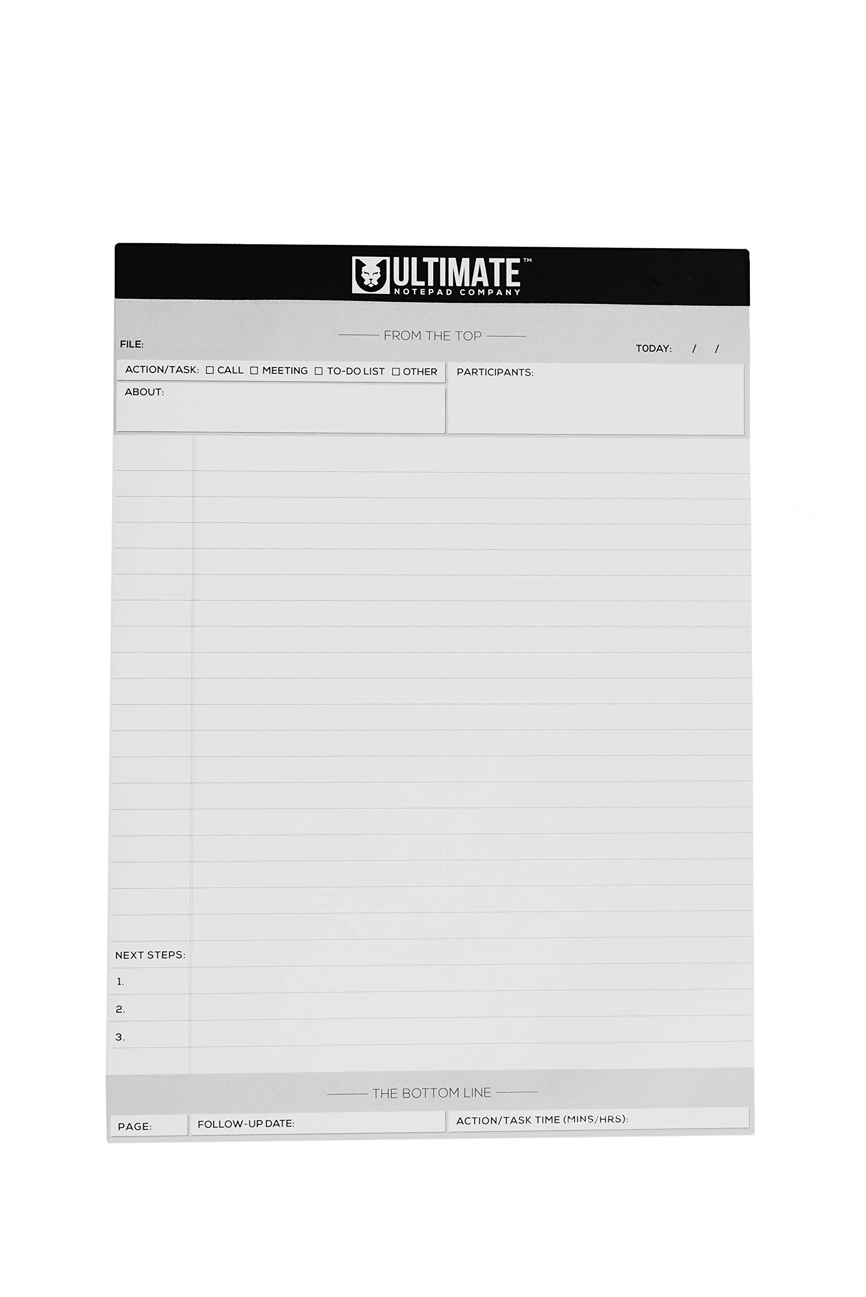 Ultimate Legal Pad 3 PACK (White - 8-1/2 x 11-3/4) Professional List Writing and Organizational Support | Legal Rule, Quality Paper | Pre-Numbered Lines, Summary, Actionable Fields by Ultimate Notepad Company