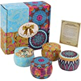 IBRAVEBOX 4pcs Natural Oils Soy Wax Aromatherapy Scented Candle Gift Sets Comprising in Fruity and Fresh Fragrances Perfect for Bath Yoga Christmas Valentine's Day Birthday Gifts