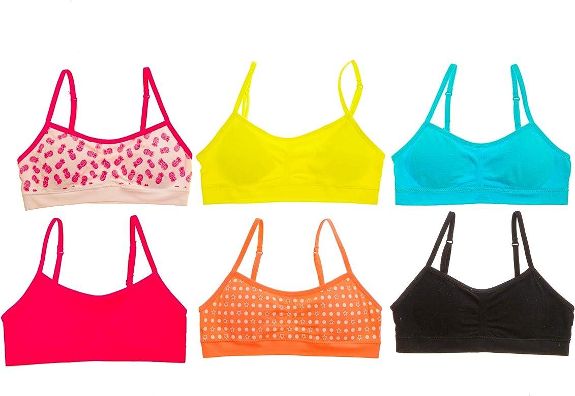 6 Pack Sweet /& Sassy Girls V Neck Seamless Training Bra with Adjustable Straps