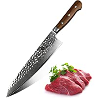 XINZUO 8 inches Damascus Chef Knife Stainless Steel Kitchen Knife Hammered Forging Lasting Sharp Chef's Knife with Pakka Wood Handle Fashion Gyutou Knife