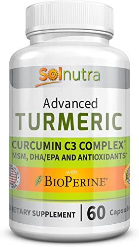 Advanced Turmeric Curcumin C3 with BioPerine, MSM, DHA EPA, Antioxidants Standardized 95 Pure, Concentrated Curcuminoids Anti-Aging Vitamins, Natural Anti-Inflammatory