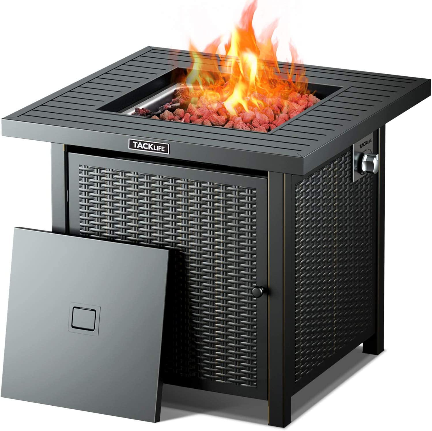 TACKLIFE 28″ 50,000 BTU Outdoor Gas Fire Pit with Lid, Auto-Ignition