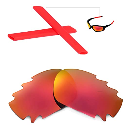4236f8ecb7 Image Unavailable. Image not available for. Color  Walleva Polarized Fire  Red Vented Lenses And Red Earsocks For Oakley Racing Jacket