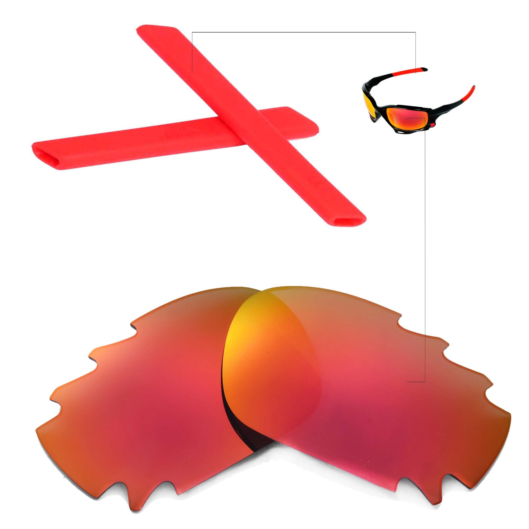 Walleva Polarized Fire Red Vented Lenses And Red Earsocks For Oakley Racing Jacket by Walleva