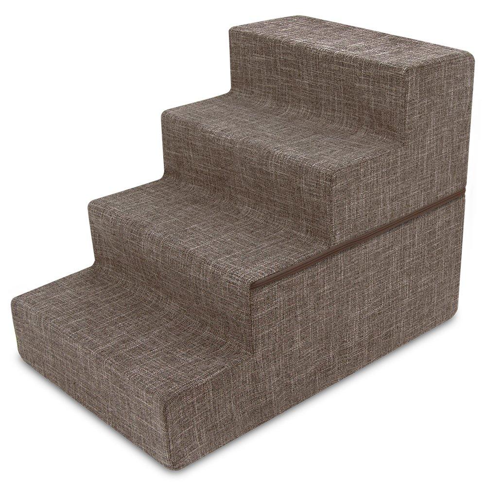 Best Pet Supplies Foldable CertiPUR-US Certified Foam Pet Stairs/Steps - Brown Linen, 4-Step (H: 22'')