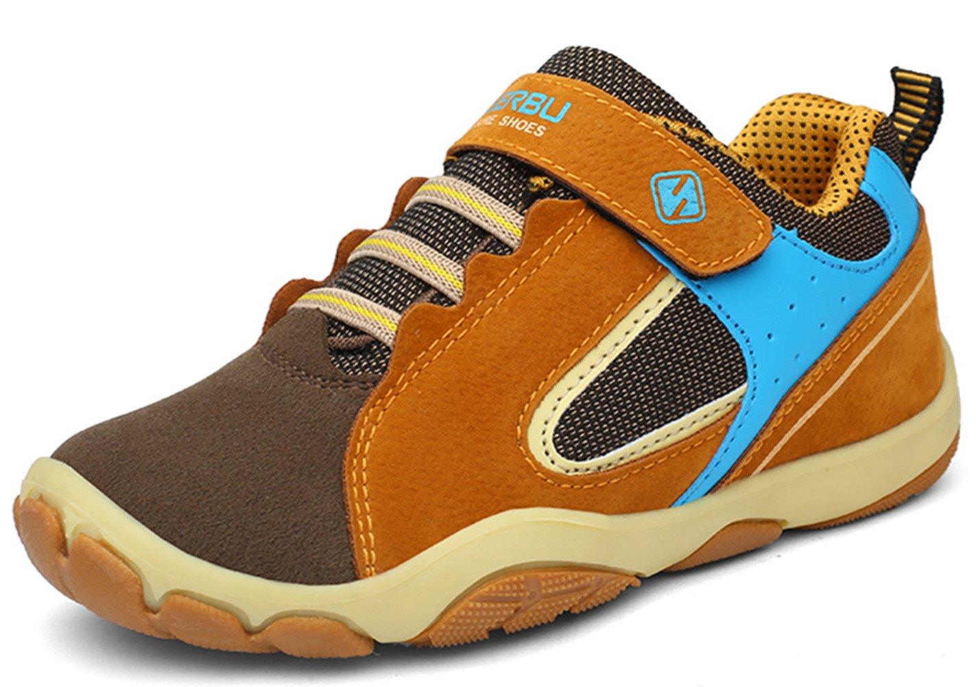 DADAWEN Kid's Outdoor Hiking Athletic Sneakers Strap Trail Running Shoes (Toddler/Little Kid/Big Kid) Brown US Size 5 M Big Kid by DADAWEN (Image #6)
