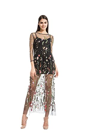 3dd7437bc1d4 Women s Floral Embroidered Tulle Maxi Prom Evening Dress With Cami Dress  Black (XXX-Large