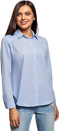 oodji Ultra Mujer Camisa Holgada con Abalorios Decorativos: Amazon.es: Ropa y accesorios