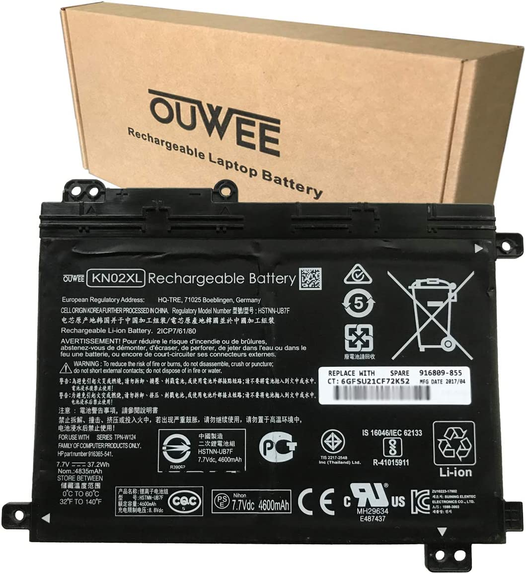 OUWEE KN02XL Laptop Battery Compatible with HP Pavilion x360 11-AD 11-AD010CA 11-AD051NR 11M-AD013DX 11-ad001TU Series HSTNN-LB7R HSTNN-UB7F 916365-421 916365-541 916809-855 TPN-W124 7.7V 37.2Wh