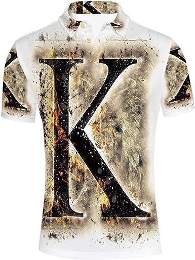 YOLIYANA Camisa Tipo Polo con Letra K ahumada en Llamas y diseño de Grunge 3X-Large: Amazon.es: Ropa y accesorios
