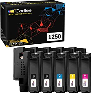 Cartlee 5 pk Compatible High Yield Laser Toner Cartridges Replacement Ink for Dell 1250c 1250 1350cnw 1355cn 1355w 1355cnw C1760nw C1765nfw c1760 C1765nf printer (2 Black, 1 Cyan, 1 Magenta, 1 Yellow)