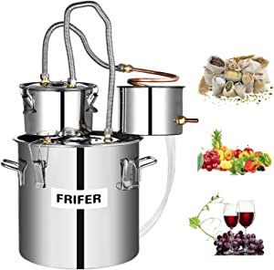 Frifer Moonshine Still, 8 Gallon 30L Alcohol Distiller Copper Tube, Moonshine Still Kit Complete with Thumper, Home Brewing Kit Build-In Thermometer for DIY Whisky Wine Brandy, Stainless Steel