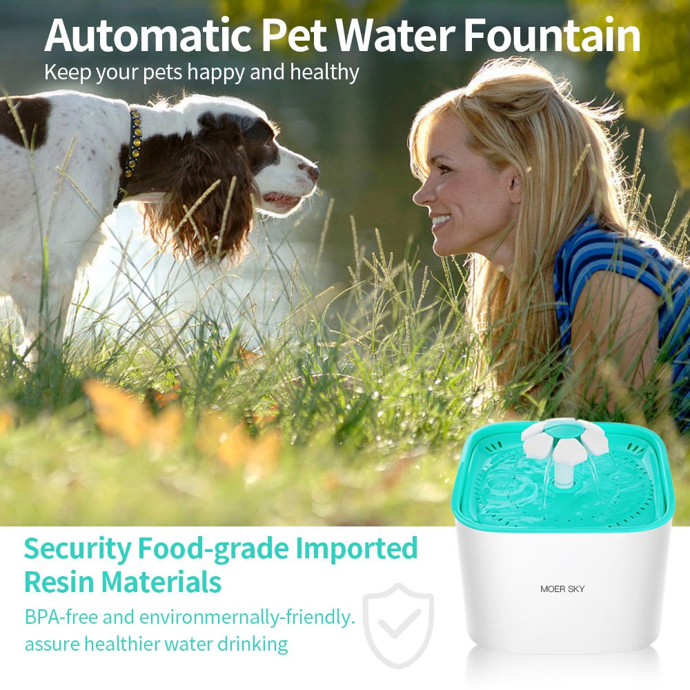 Moer Sky Pet Fountain Cat Water Dispenser-Healthy Hygienic Drinking Fountain 2L Super Quiet Automatic Water Bowl Filter Silicone Mat Dogs, Cats, Birds Small Animals (Pet Fountain) by Moer Sky (Image #6)