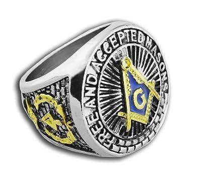 Masonic Rings for Men - Blue Lodge - Duo-Tone Gold Icons Silver Color Band   Freemason Ring Blue Mason Symbol Free and Accepted Masons - Freemason