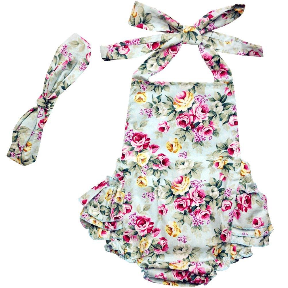 Dqdq Baby Girls Floral Print Ruffles Romper Summer Dress Light Blue Rose 12 Month