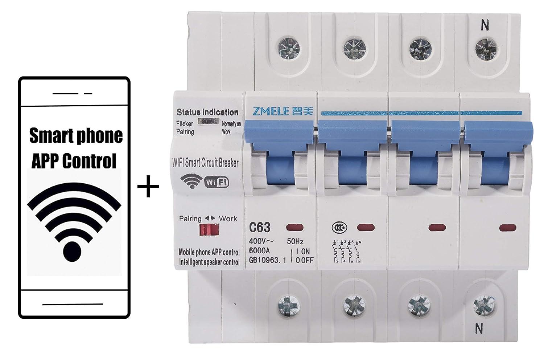 Negro sistema de alimentaci/ón ininterrumpida s UPS Smart wifi circuit breaker 4p 63a 6AC outlet