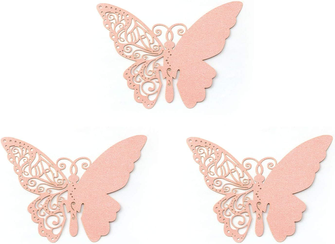 NX Garden 50pcs Butterfly Wedding Party Baptism Table Name Place Card/Escort Card/Cup Card/Wine Glass Card for Wedding Party Decoration, Pink