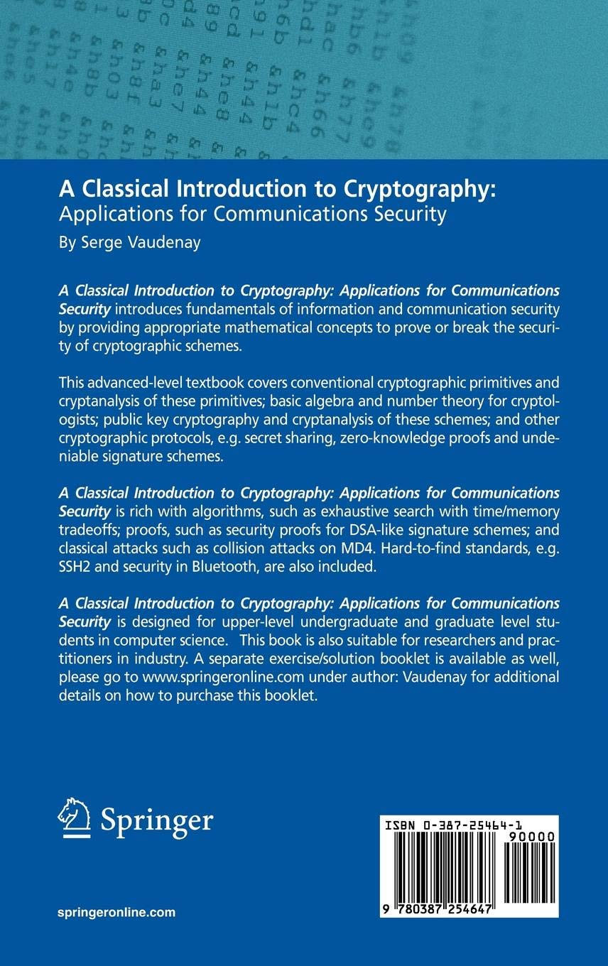 A Classical Introduction to Cryptography: Applications for