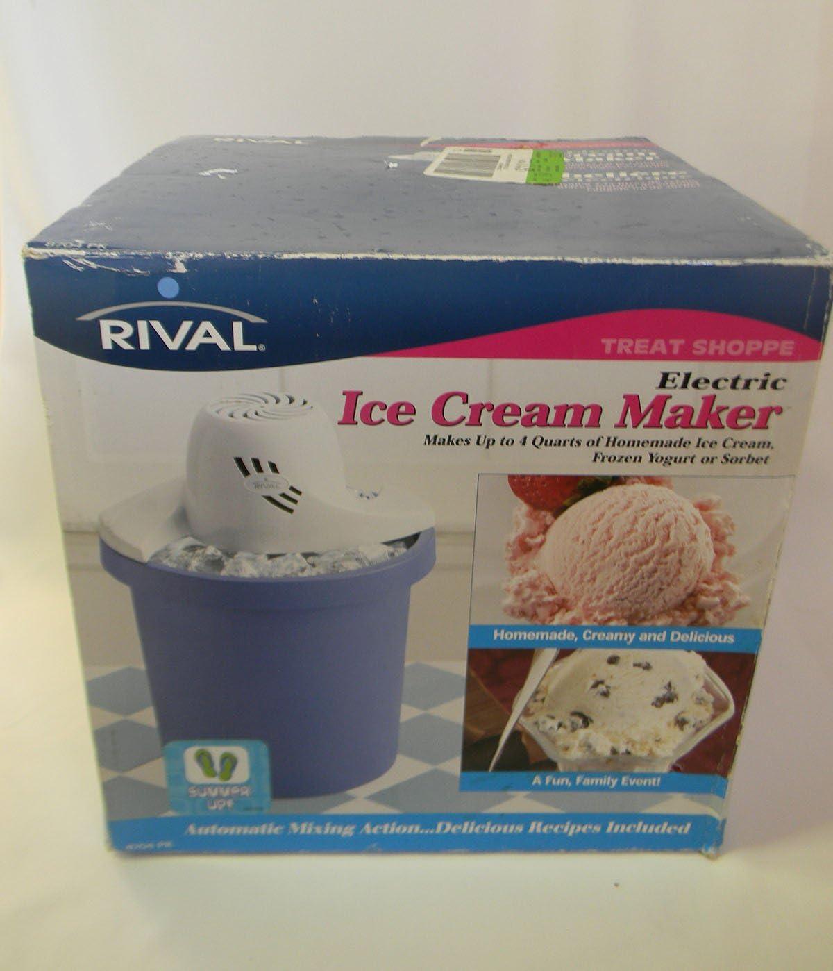 Machine makes Homemade Ice Cream Rival 8704P 4 Qt Yogurt or Sorbet