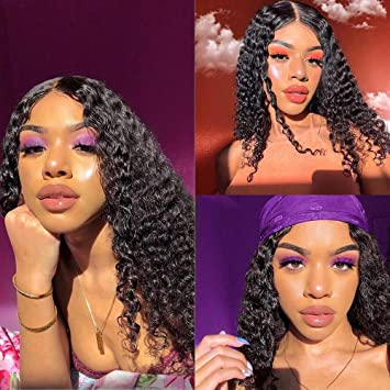 360 Deep Wave Lace Frontal Wigs 130% Density Virgin Human Hair Wigs for Black Women with Baby Hair Pre Plucked Natural Color(16'' 130%, Natural Color)