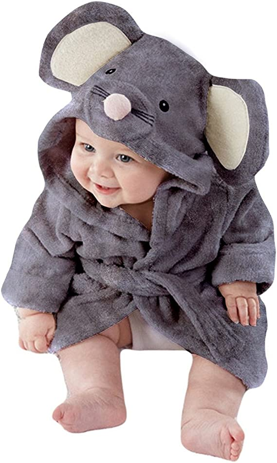 Baby Jungen M/ädchen Baby Bademantel Pl/üsch Fleece Samt weich gem/ütlich warm Geschenk