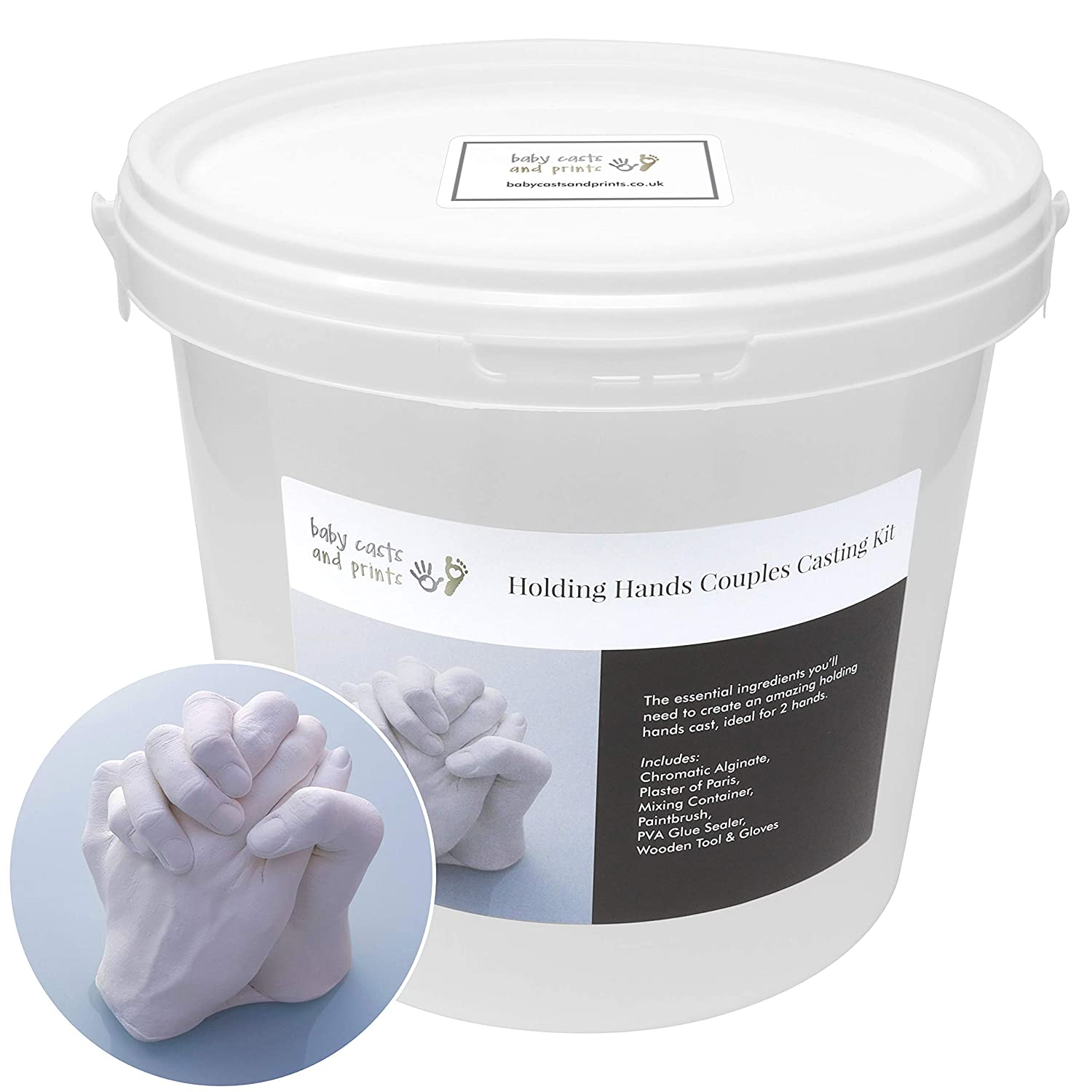 Holding Hands Family 3D Casting Kit - Moulding powder, plaster, mixing  bucket, tools - all you need to cast